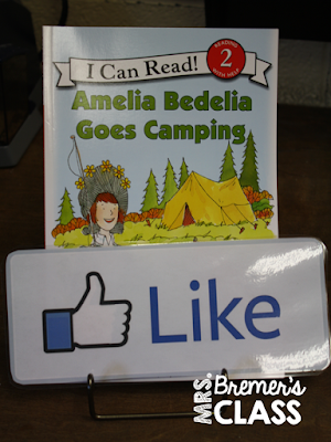 Use a Facebook type 'LIKE' sign to recommend a book in the classroom library