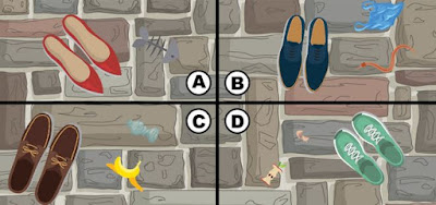 Alt-3 Q 15. The streets are crowded and kiki is having a hard time moving around. she hears a coin fall to the ground and begins looking for it. which part of the image has the coin?