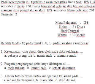 Soal-ujian-Ulangan-UAS-IPS-kelas-2-SD-Semester-2