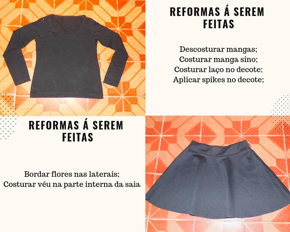 customizando blusa e saia em um conjunto