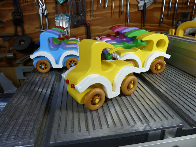 Handmade Wooden Toy Car Coupe From The Bad Bob's Custom Motors Series In Yellow and White