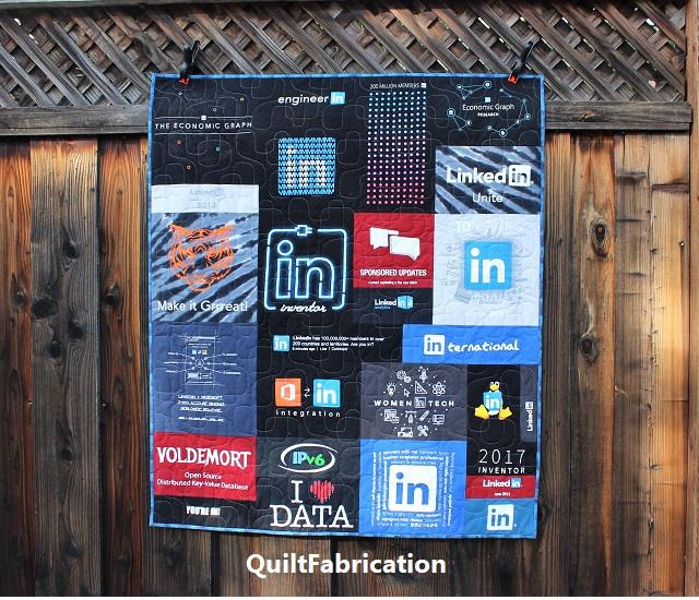 LinkedIn t-shirt quilt