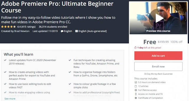 [100% Off] Adobe Premiere Pro: Ultimate Beginner Course| Worth 199,99$