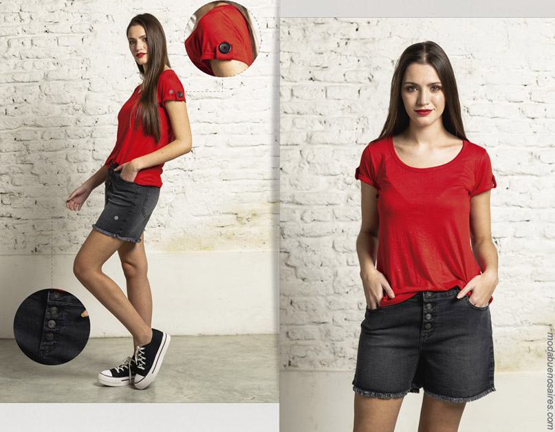 Remera roja de mujer primavera verano 2020 ropa de moda. Moda verano 2020.