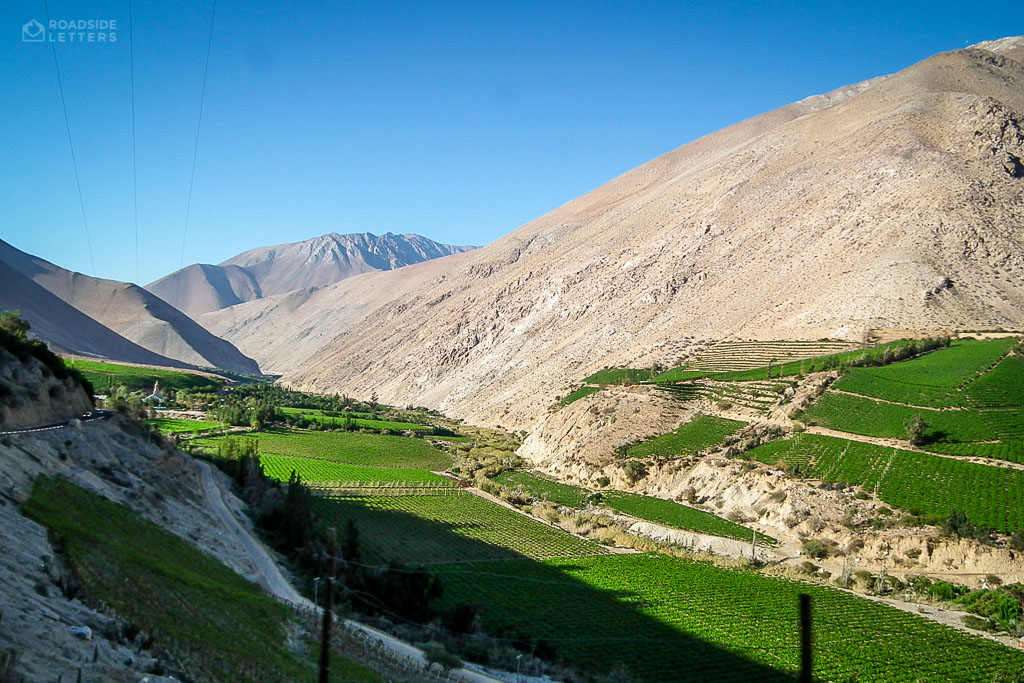 Green Elqui Valley surrounded by dry mountains in central Chile