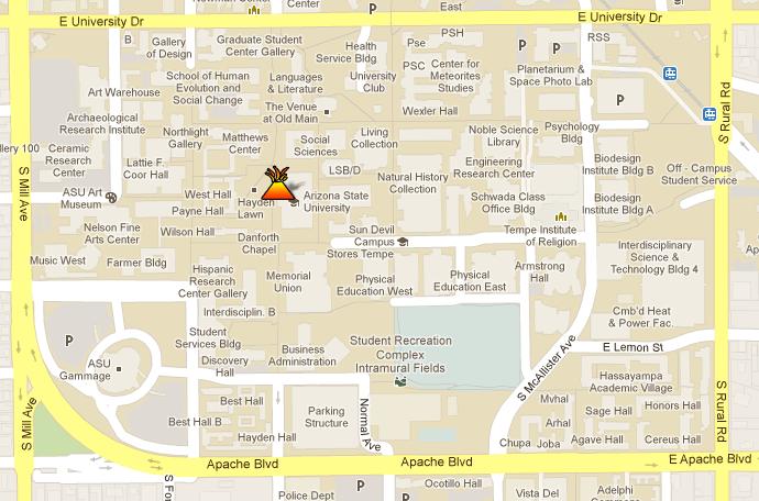 Arizona State University Tempe Campus Map.Arizona State University Map Bnhspine Com