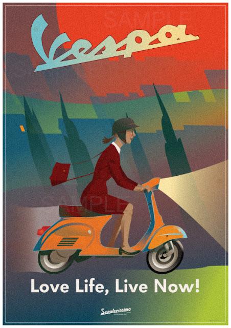 Vespa Girl. Cool and Original A1 Vespa retro Poster Print. Click below to buy.