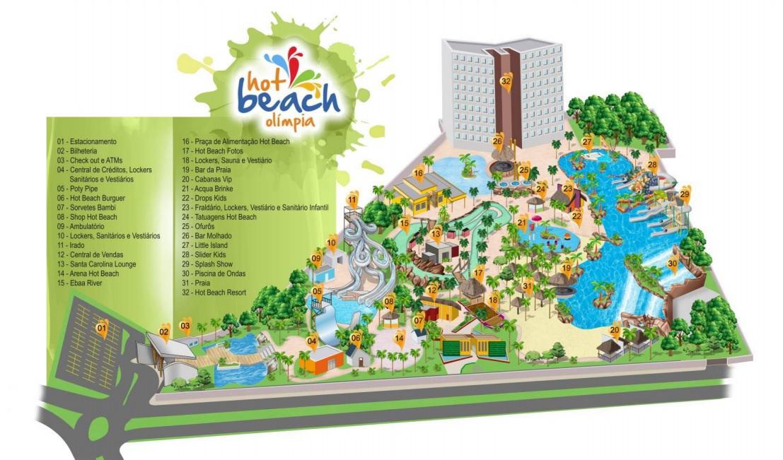 Mapa Hot Beach Olímpia