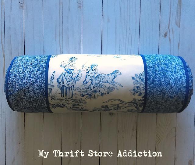blue toile bolster pillow