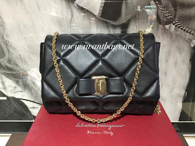 Salvatore Ferragamo Vara Quilted Nappa Mini Bag-Black