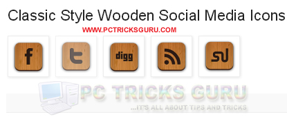 Wooden Style Social Media Widget For Blogger