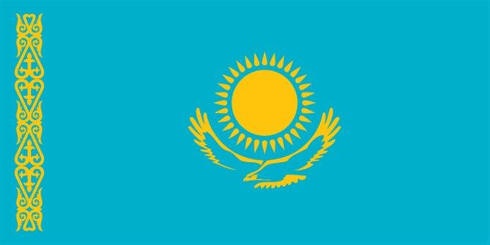 Bayrağında sarı olan ülkeler Kazakistan bayrağı