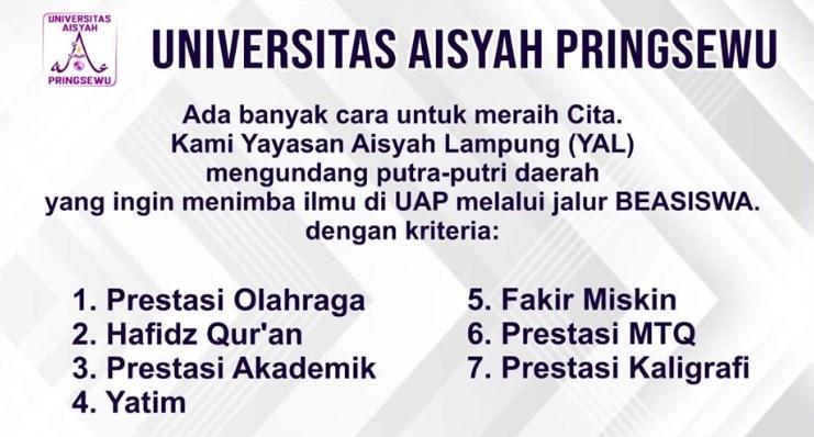 Universitas Aisyah Pringsewu Lampung Memberikan Beragam Pilihan Beasiswa