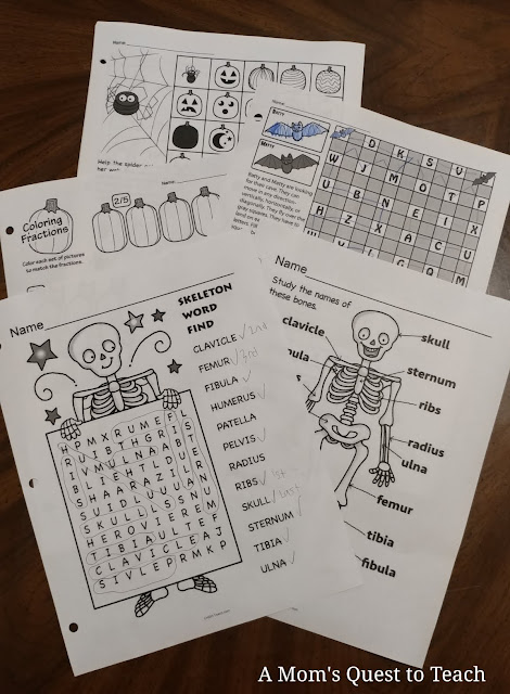 worksheets; wordsearch from My Teaching Library - skeletons, pumpkin, Halloween-theme