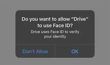 تأمين إعدادات Google Drive Face ID