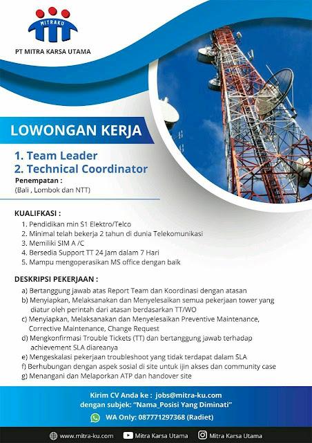 Lowongan Kerja PT Mitra Karsa Utama (Penempatan Bali, Lombok, dan NTT)