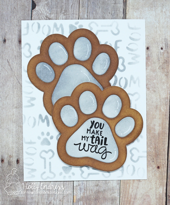Pawprint Dog Card by Holly Endress | Pawprint Shaker Die Set, Say Woof Stamp Set and Woof Stencil by Newton's Nook Designs #newtonsnook #handmade