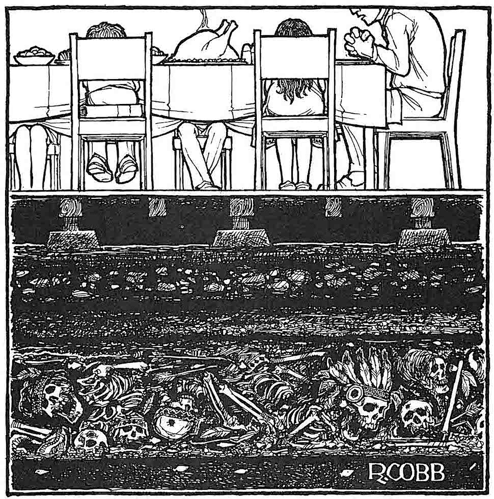 a dark Ron Cobb cartoon about colonialization and the First Nations