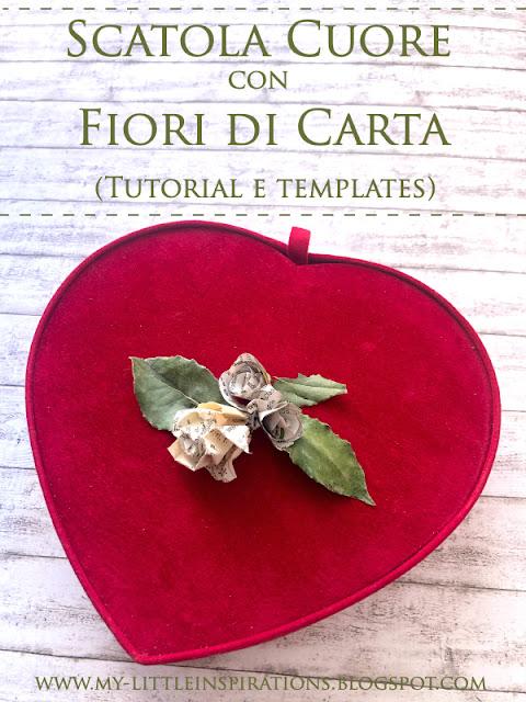 Scatola cuore con fiori di carta ricavati da pagine di libri e foglie