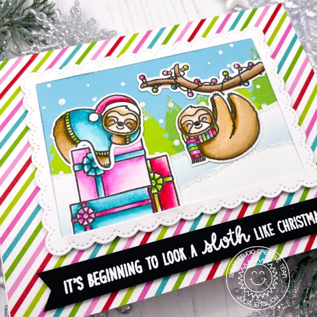Sunny Studio Stamps: Lazy Christmas Fancy Frame Rectangles Dies Christmas Card by Julia Englich