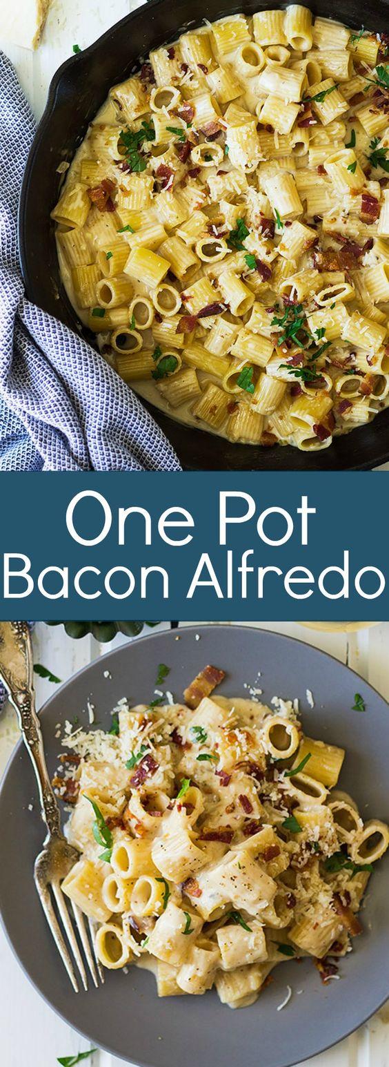 One Pot Bacon Alfredo