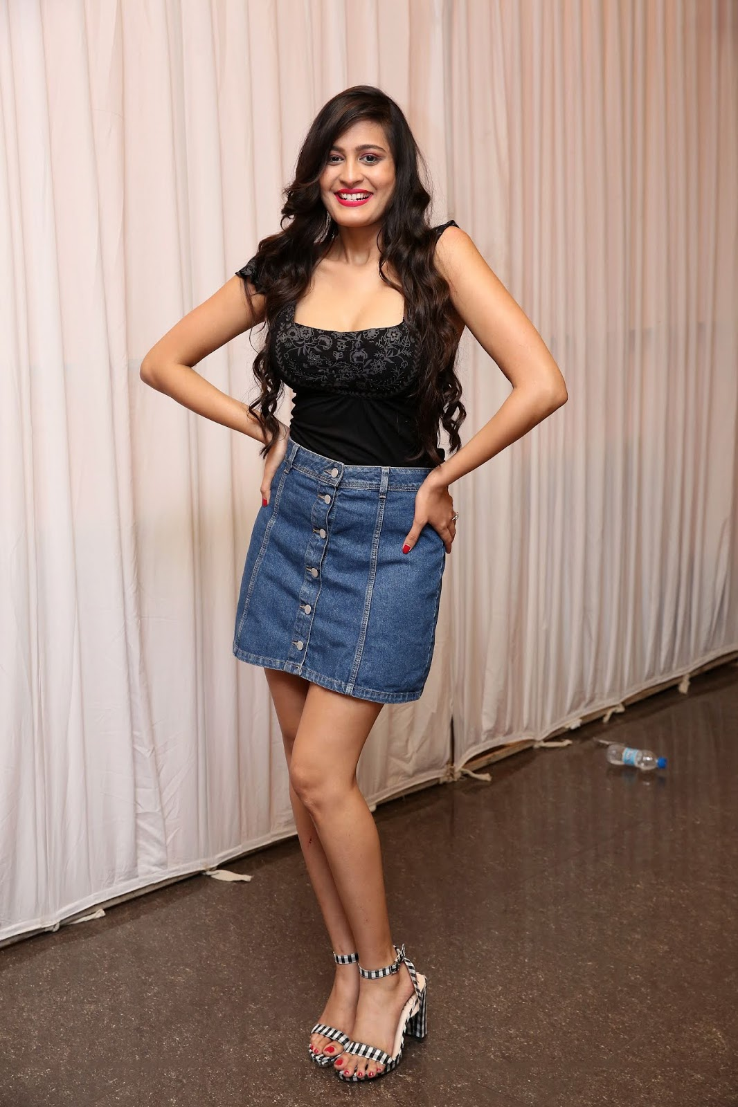 Swetha Jadhav Hot In Jeans Mini Skirt At Celebrity Cricket Tour To South Africa Jersey Launch