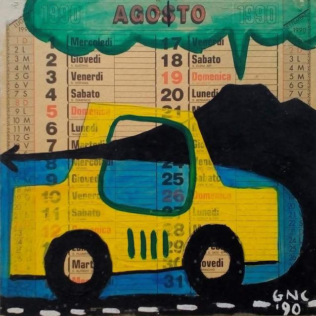 AGOSTO (1990) acrilico su calendario (33x33)