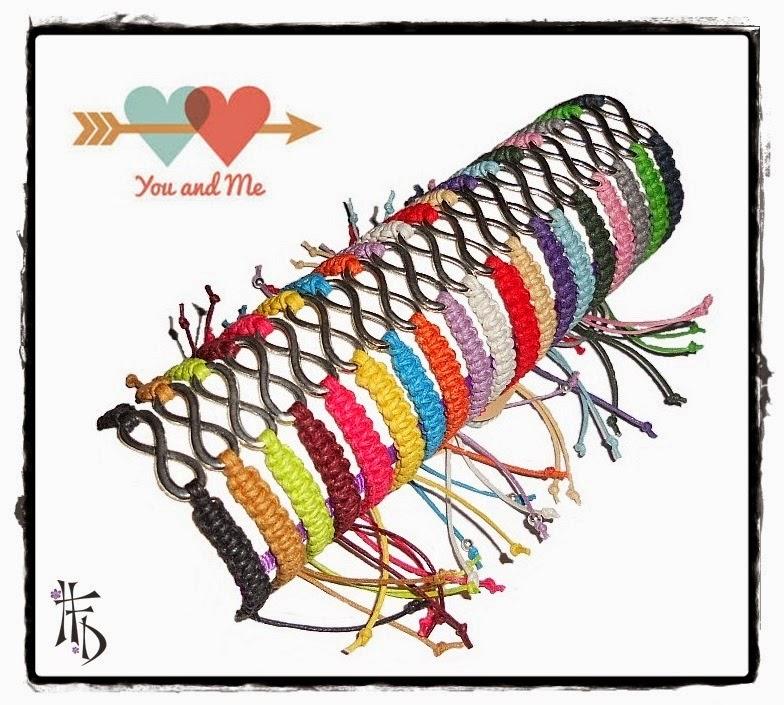 ETERNITY. Pulseras macramé con adorno símbolo infinito / Macrame bracelets with infinity symbol ornament