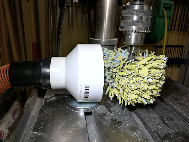 Pipe Coupler Dust Collector Mounted ON My Harbor Freight Drill Press with a Sanding Mop