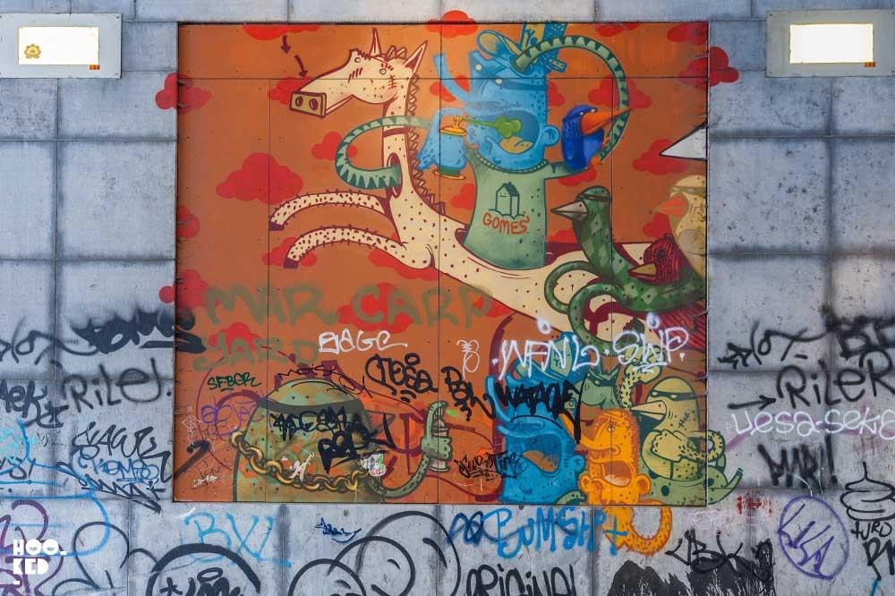 French Street Artist Alexone Dizac mural in Brussels