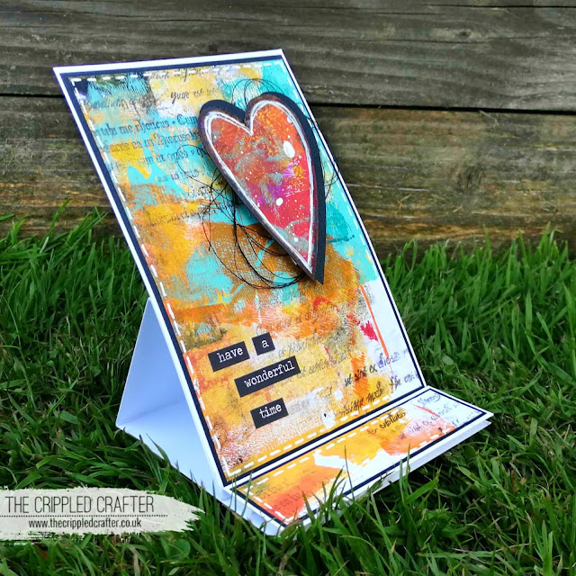 Gel Printed Heart Easel Card by Sam Lewis AKA The Crippled Crafter | Monoprint Monday | DecoArt