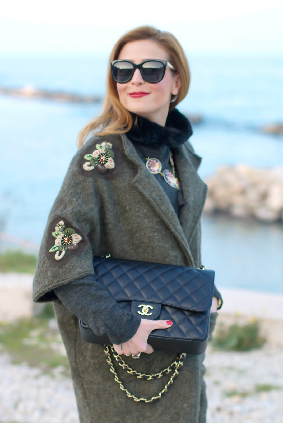 Trendyberry embroidered coat for a street style casual look and Chanel bag on Fashion and Cookies fashion blog, fashion blogger style