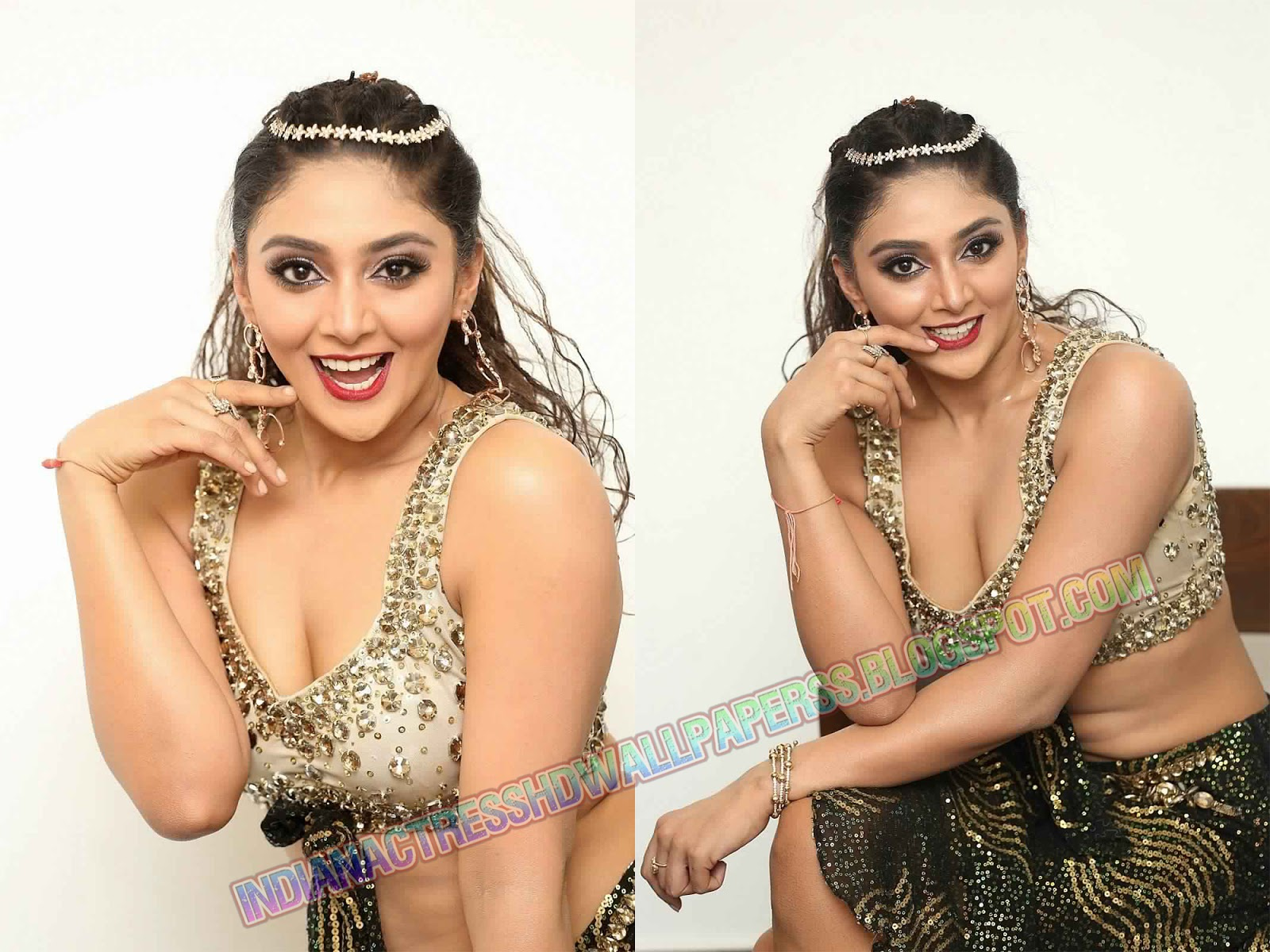 Natasha Doshi in Deep Neck Sparkling Choli at New year Event 2019