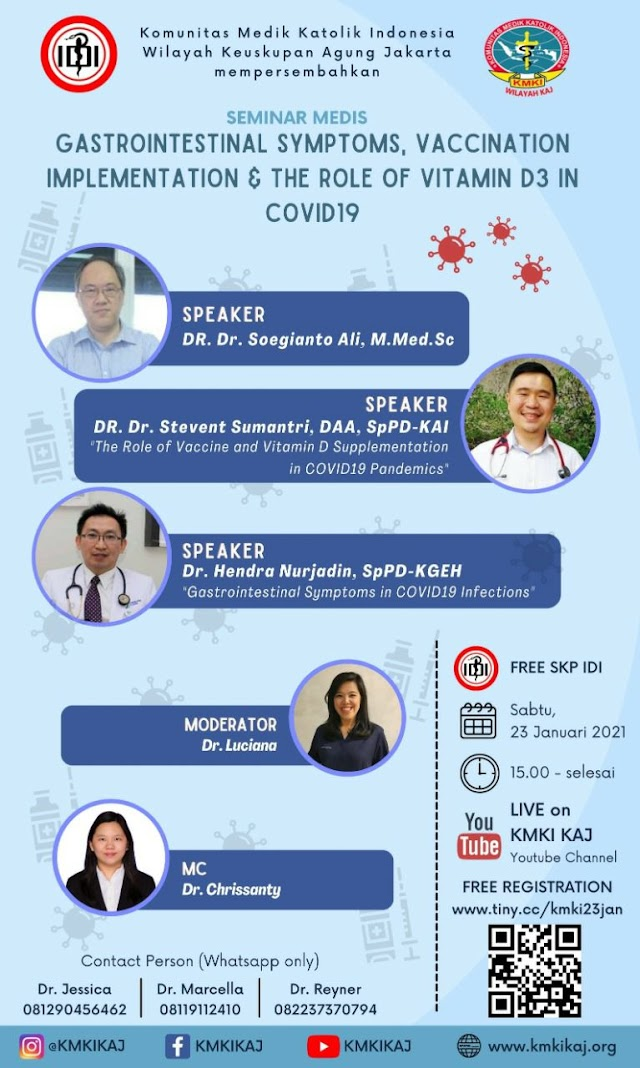 Gratis SKP IDI---Seminar : *Gastrointestinal Symptoms, Vaccination Implementation, and The Role of Vitamin D3 in COVID19*