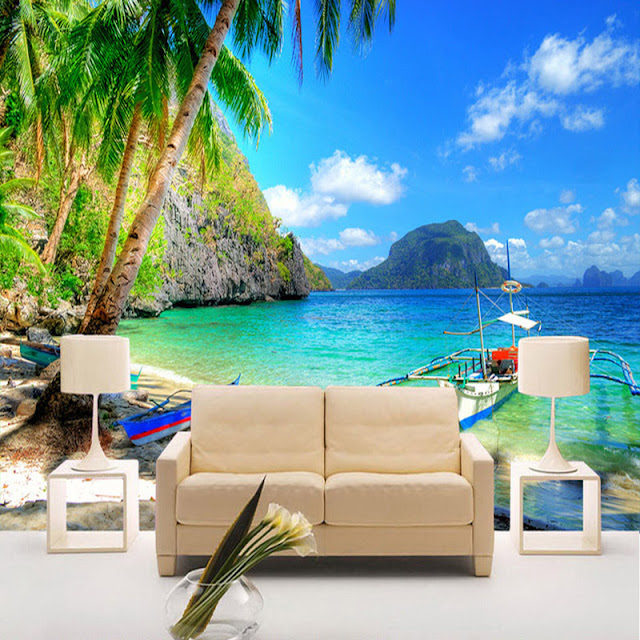 Tropical Wall Murals Beach Ocean 3D Photo Wallpaper Palm Tree Livingroom