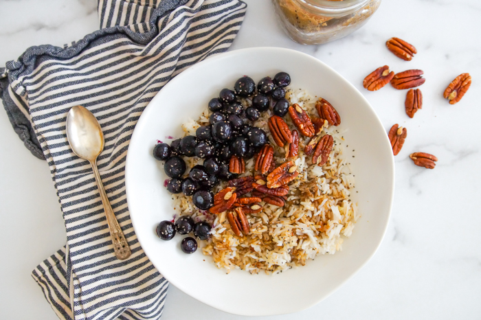 blueberry and salted pecan breakfast grain bowl
