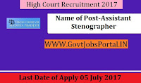 High Court Madhya Pradesh Recruitment 2017– 2910 Stenographer, Assistant