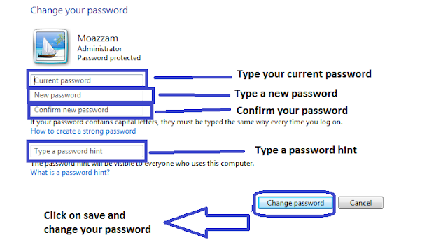 how to change password on windows 7 lock screen