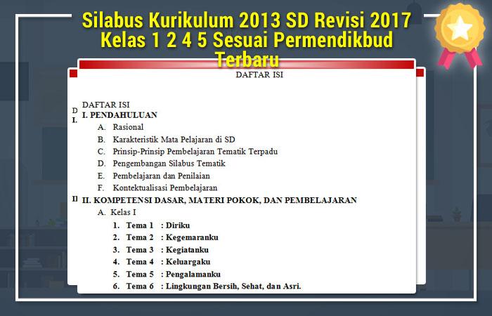 Silabus Kurikulum 2013 SD Revisi 2017 Kelas 1 2 4 5 Sesuai Permendikbud Terbaru