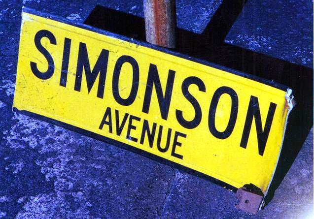 The actual Simonson Ave sign that Ricky tore down