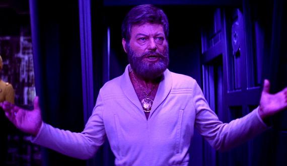 DeForest Kelley as bearded medallion man Dr. McCoy in Star Trek: The Motion Picture