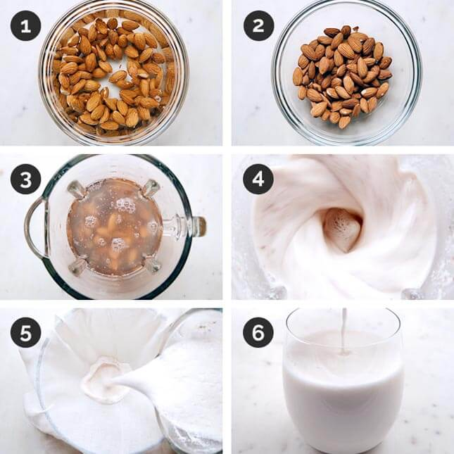 Step by step photos of how to make almond milk