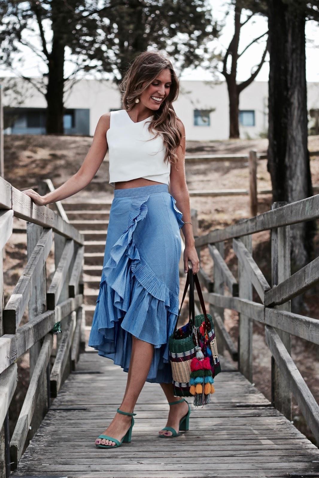 falda rayas azul y blanco