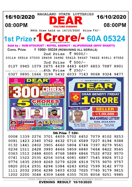 Lottery Sambad 16-10-2020 Today Results 8:00 pm, Nagaland State Lottery Sambad Today Result 8 pm, Sambad Lottery, Lottery Sambad Live Result Today