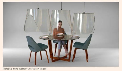Photo of protective dining bubble by Christophe Gernigon