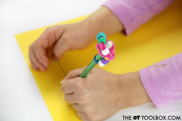 Use a pencil topper fidget toy to help kids focus and attend at school
