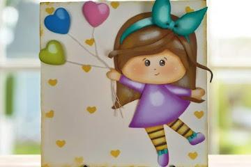 Molde aplique menina de lacinho com balão: Artes em EVA