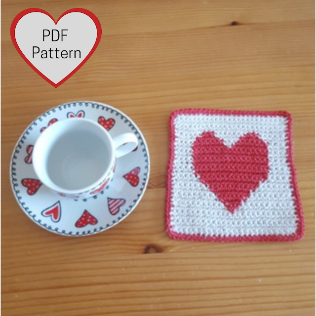 Heart crochet coasters for Valentine's Day
