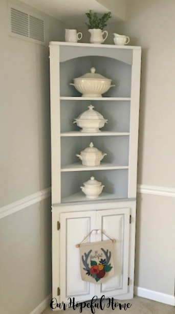 painted corner hutch dishes tureen creamers