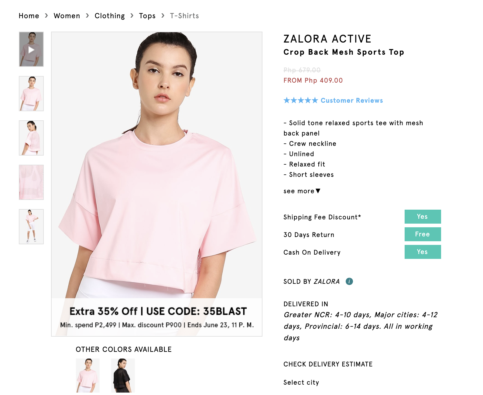 Screenshot of Zalora Active Crop Back Mesh Sports Top